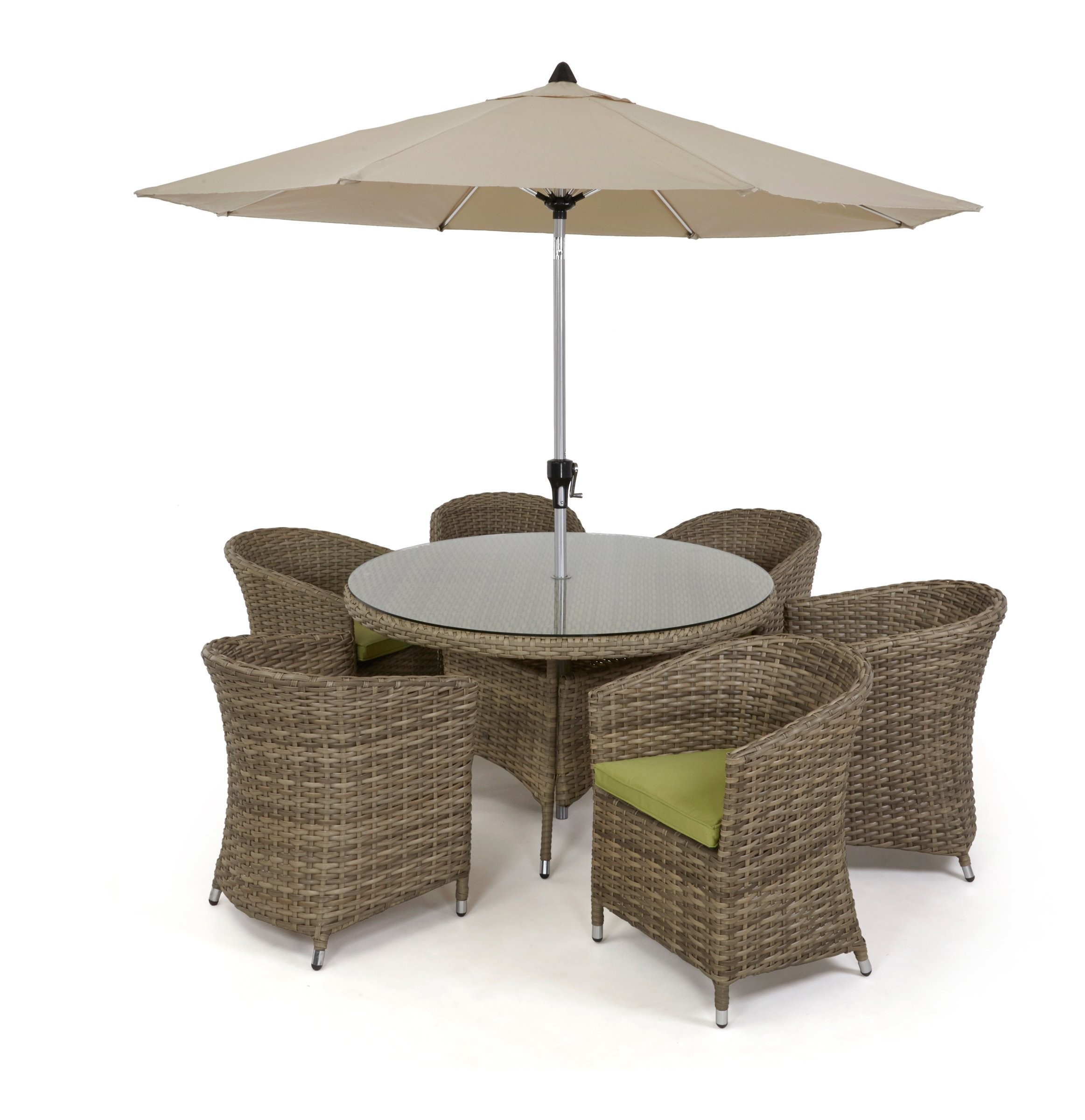 Maze Rattan Milan 8 Seat Round Dining Set With Carver Chairs: Maze Rattan Natural Milan 6 Seat Dining Set With Rounded