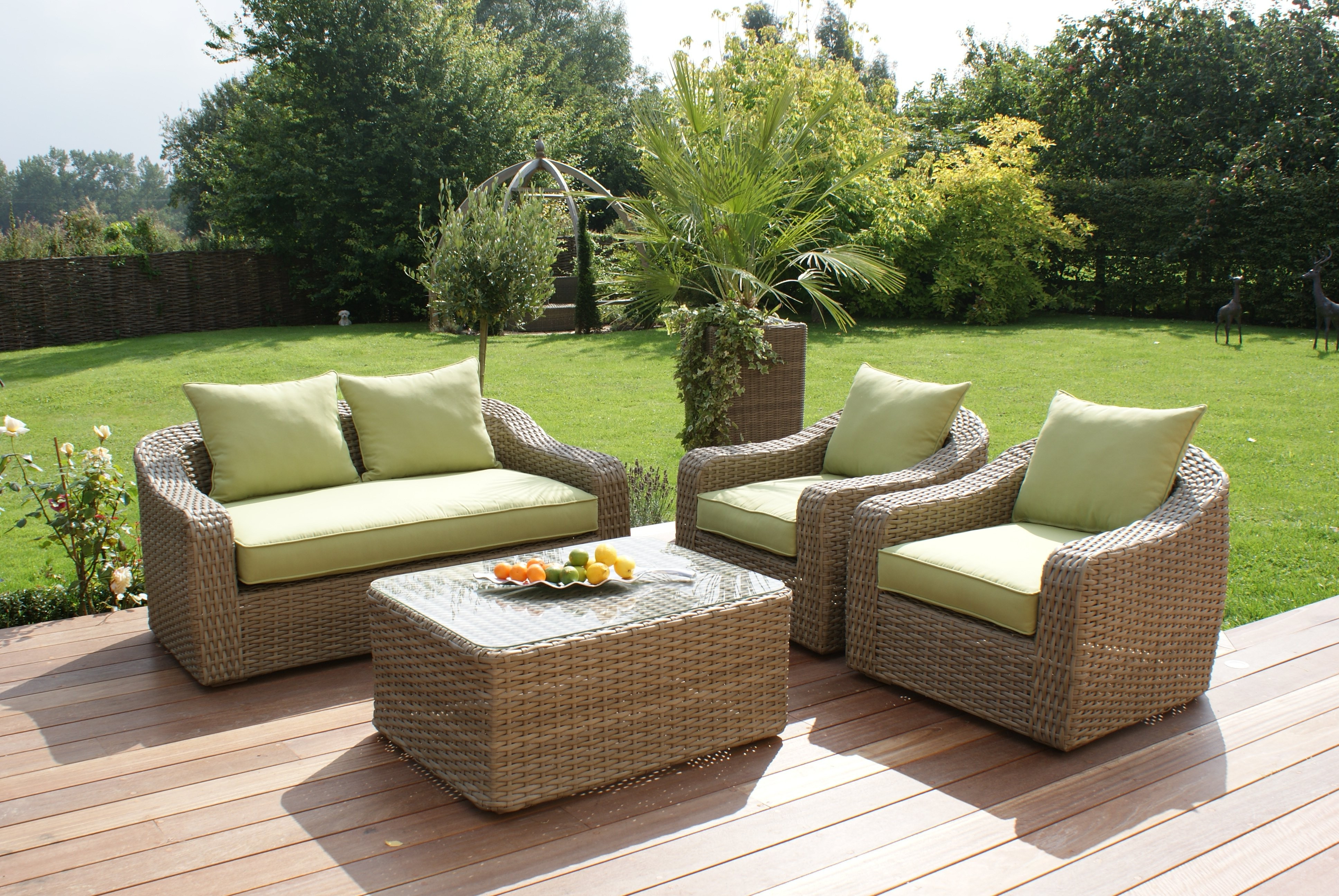 Maze Rattan Natural Milan Rounded Sofa Set Rattan
