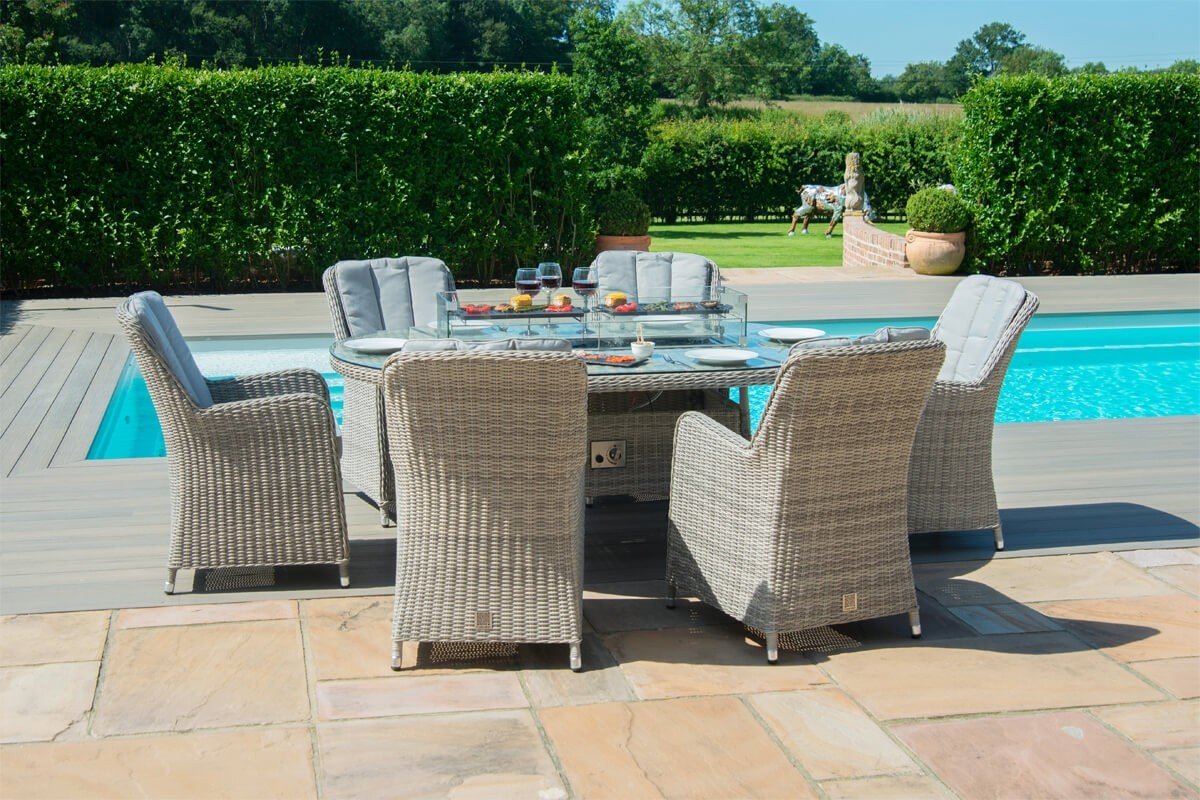 Maze Rattan Oxford 6 Seater Oval Fire Pit Dining Set With