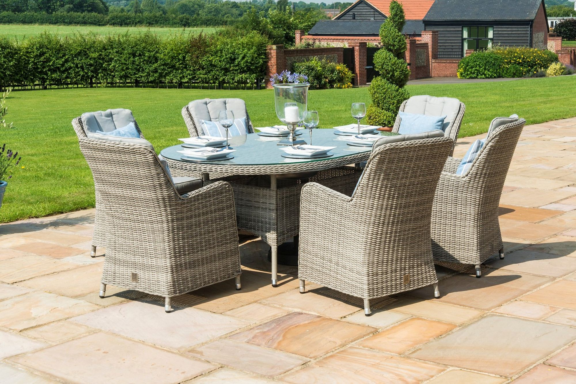 Maze Rattan Oxford 6 Seat Oval Garden Furniture Set With