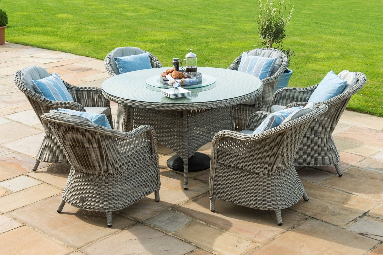 Maze Rattan Winchester 6 Seat Round Dining Set With Rounded Chairs and lazy Susan
