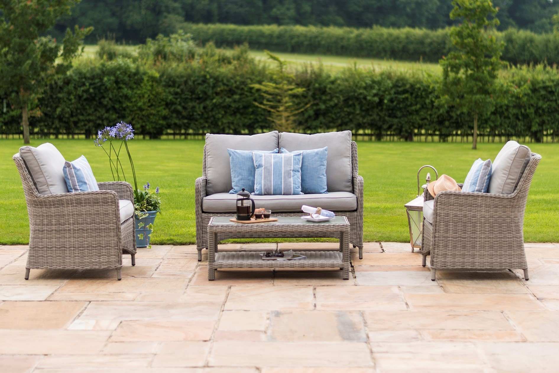 Maze Rattan Oxford High Back Garden Sofa Set Rattan