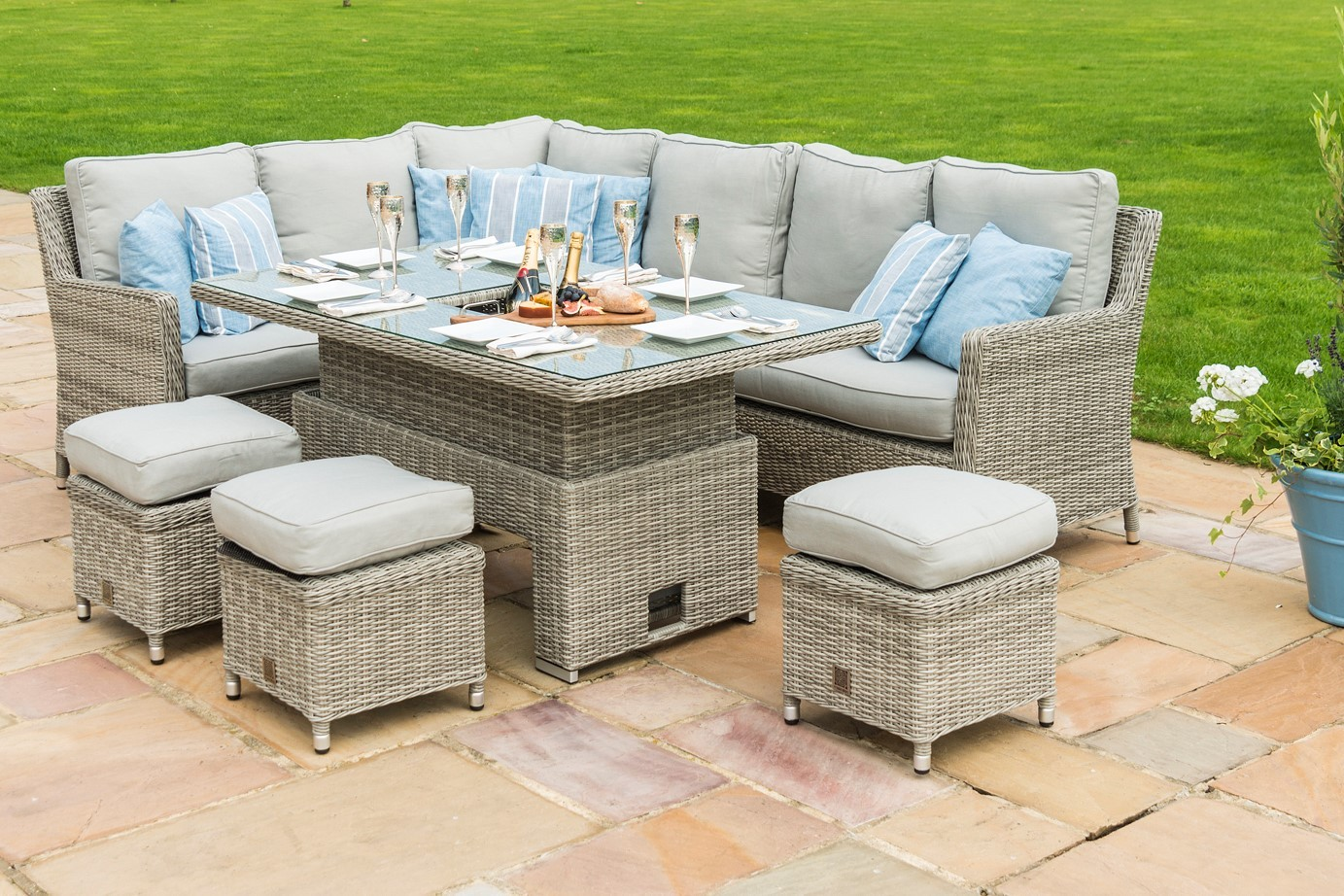 Maze Rattan Oxford Corner Sofa Dining Set With ice bucket and rising table