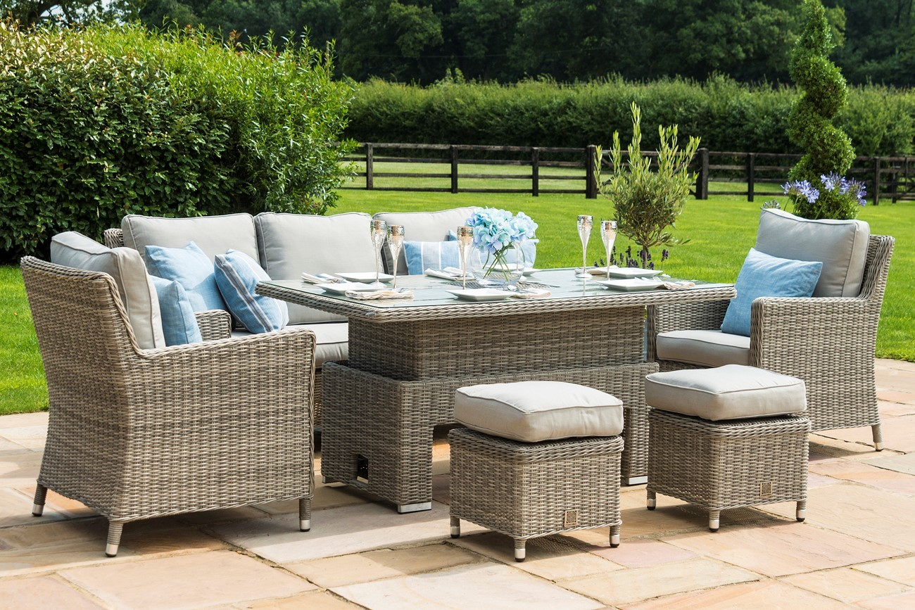Maze Rattan Oxford sofa dining set with rising table and ice bucket