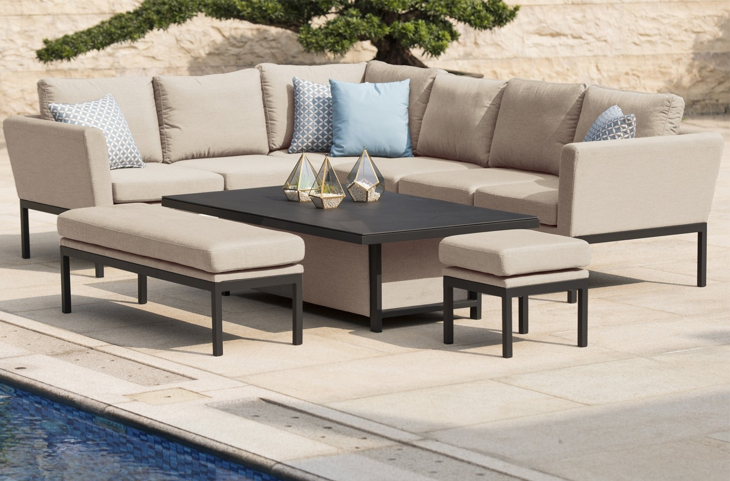 Maze Pulse Adjustable Corner Dining Set In All Weather Fabric