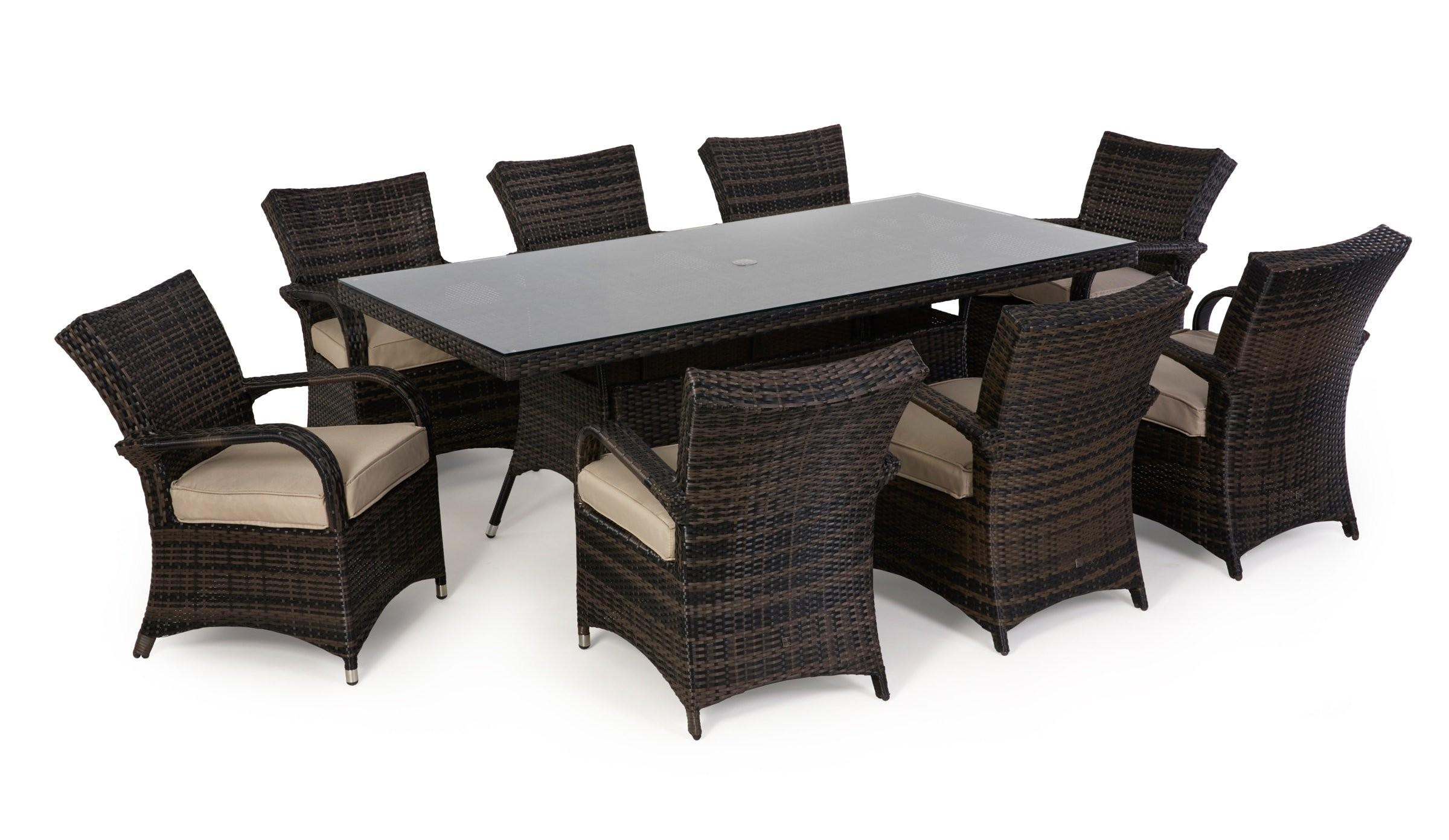 Maze Rattan Texas 8 Seat Rectangular Garden Dining Set