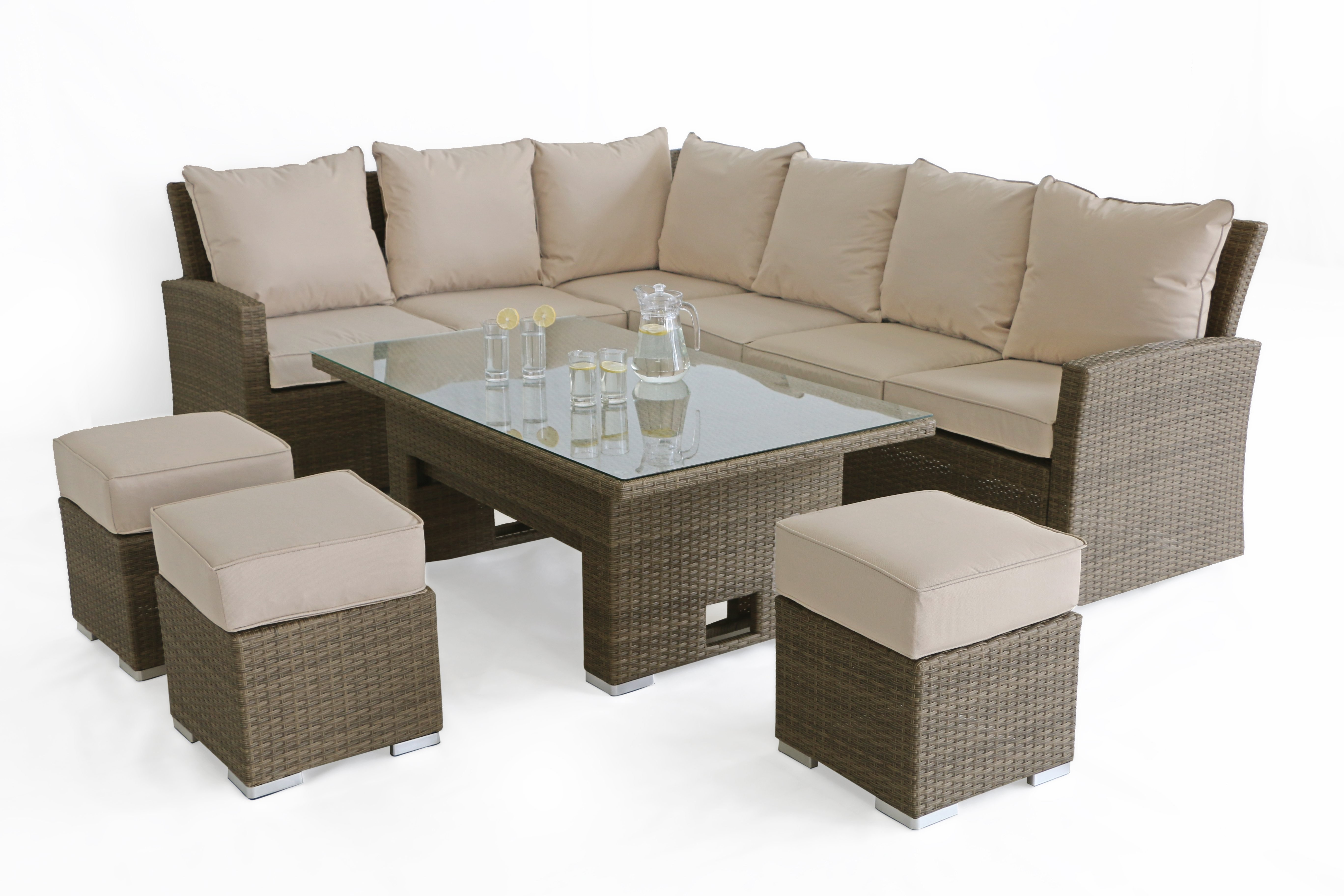Maze Rattan Tuscany Kingston Garden Sofa Dining Set With Rising Table
