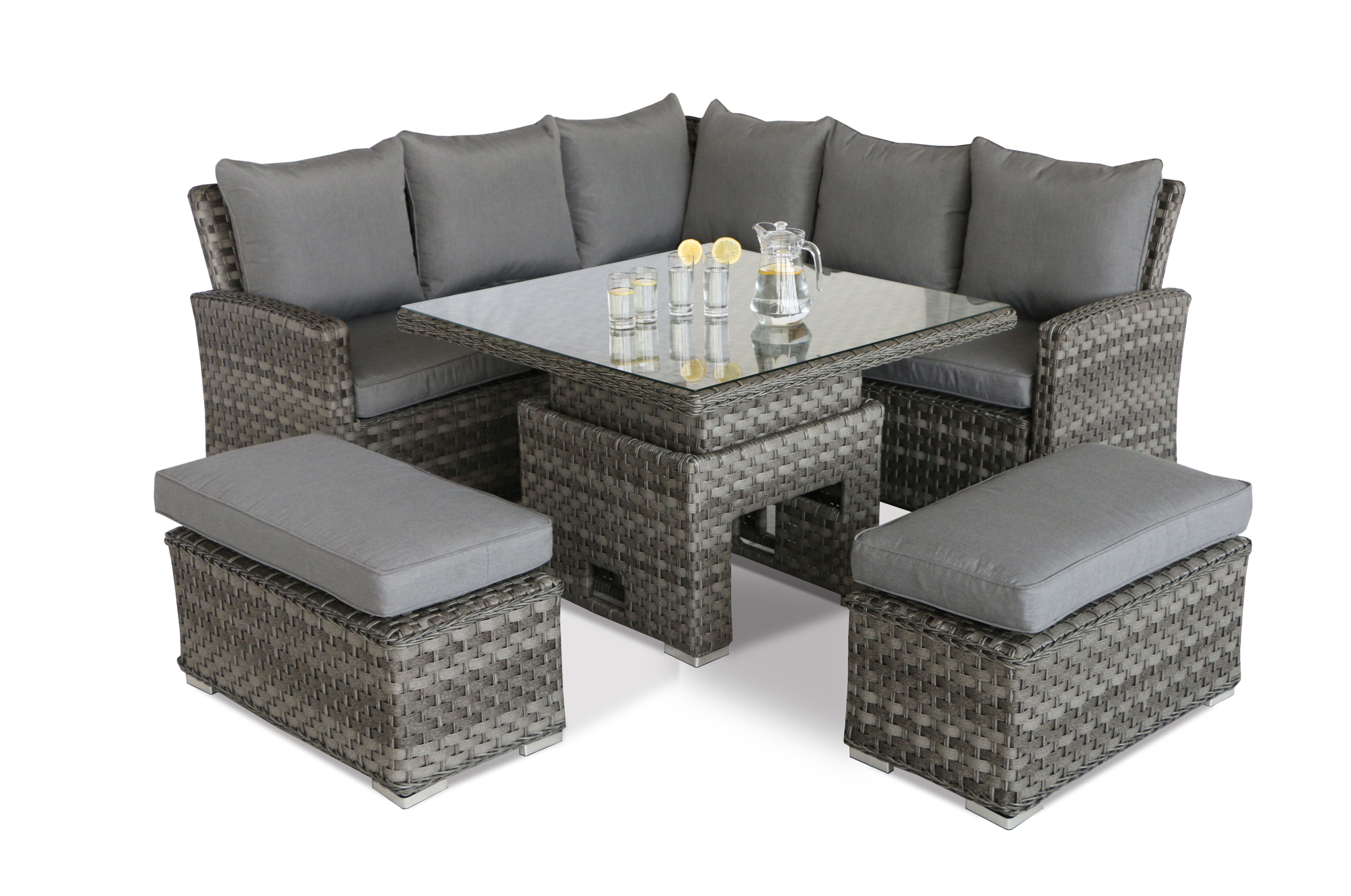 Maze Rattan Victoria Casual Corner Bench Set With Rising Table