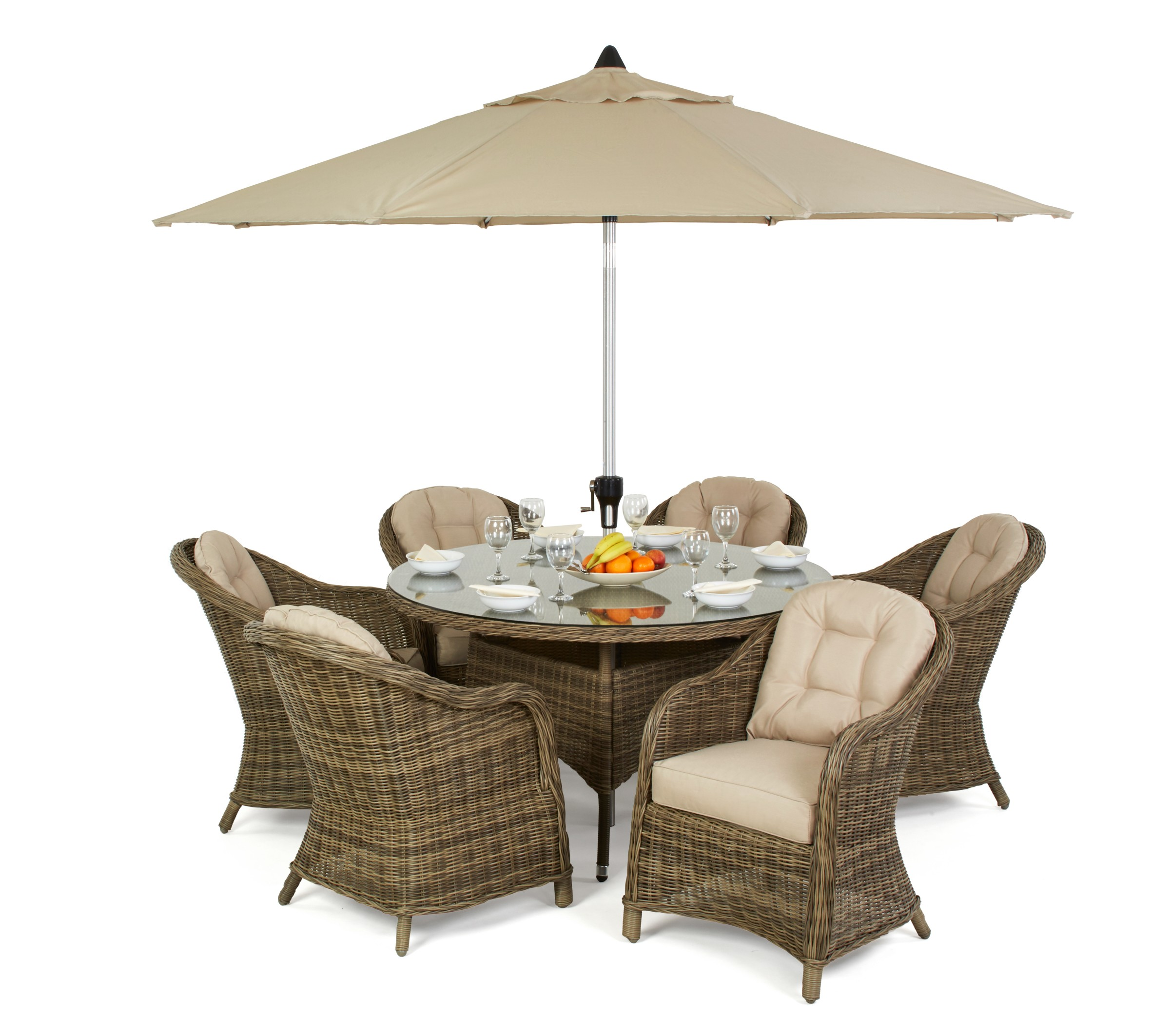 Maze Rattan Winchester 6 Seat Round Dining Set With Round Chairs