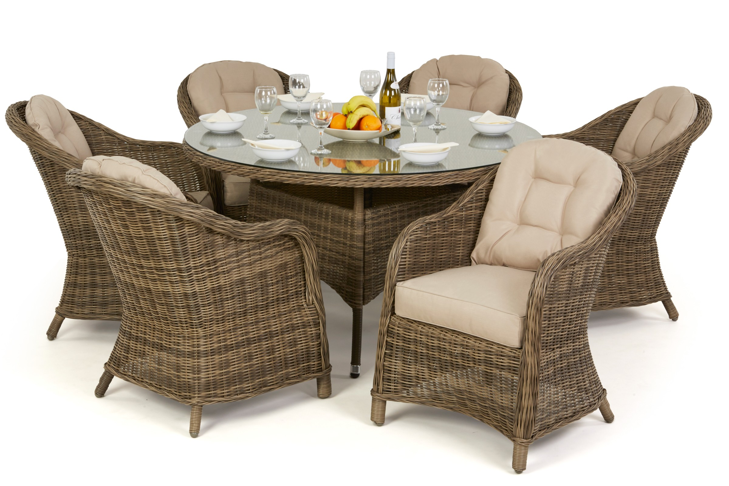 Maze Rattan Winchester 6 seat Round Patio Furniture Set With Rounded Chairs