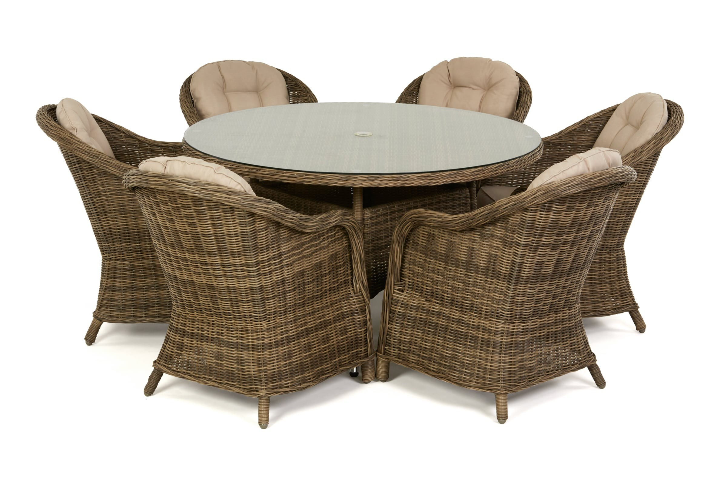 Maze rattan Winchester 6 seat Round Rattan garden Furniture Set | Rattan Furniture Fairy