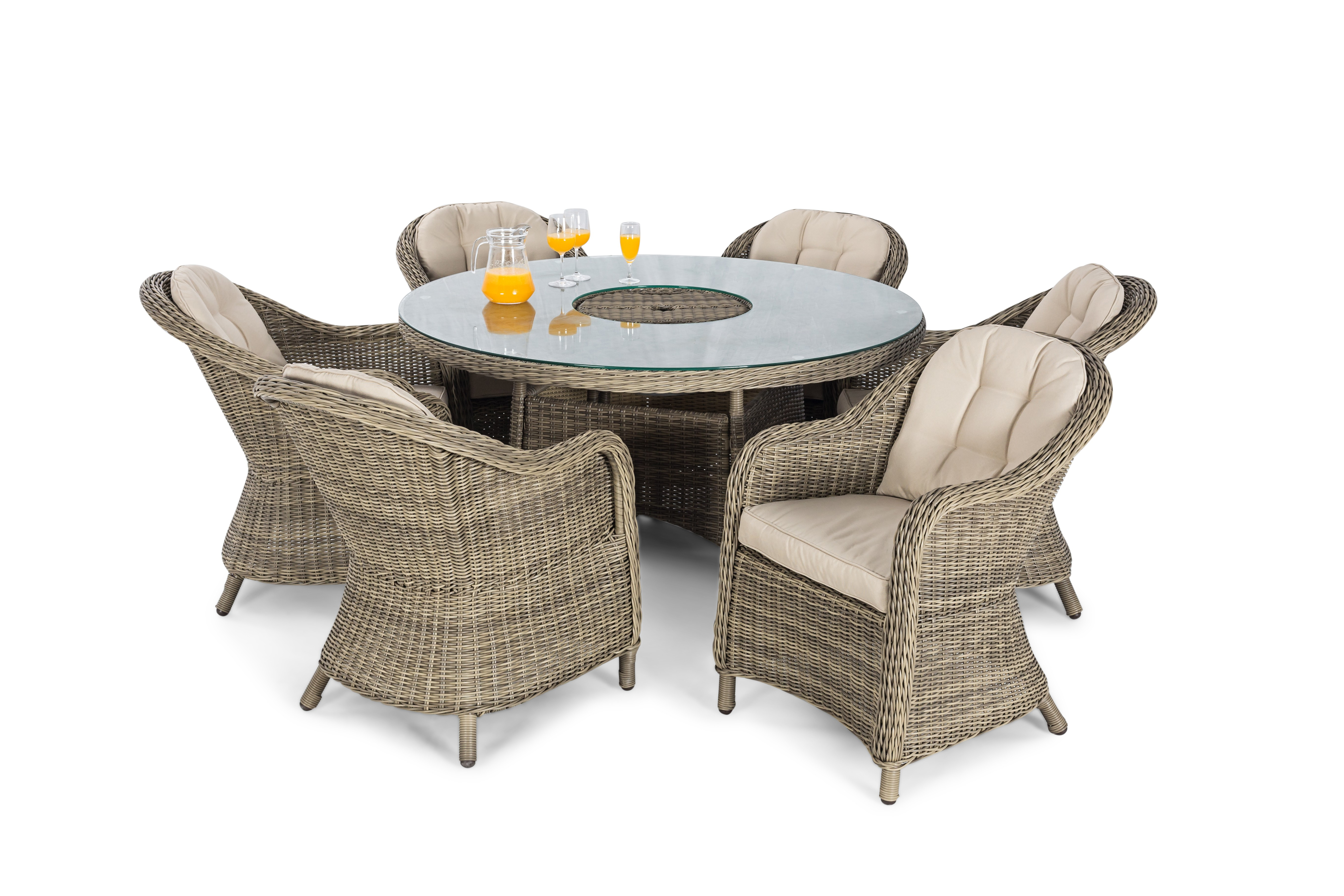 New Winchester 6 Seat Rounded Armchair Set Amp Lazy Susan