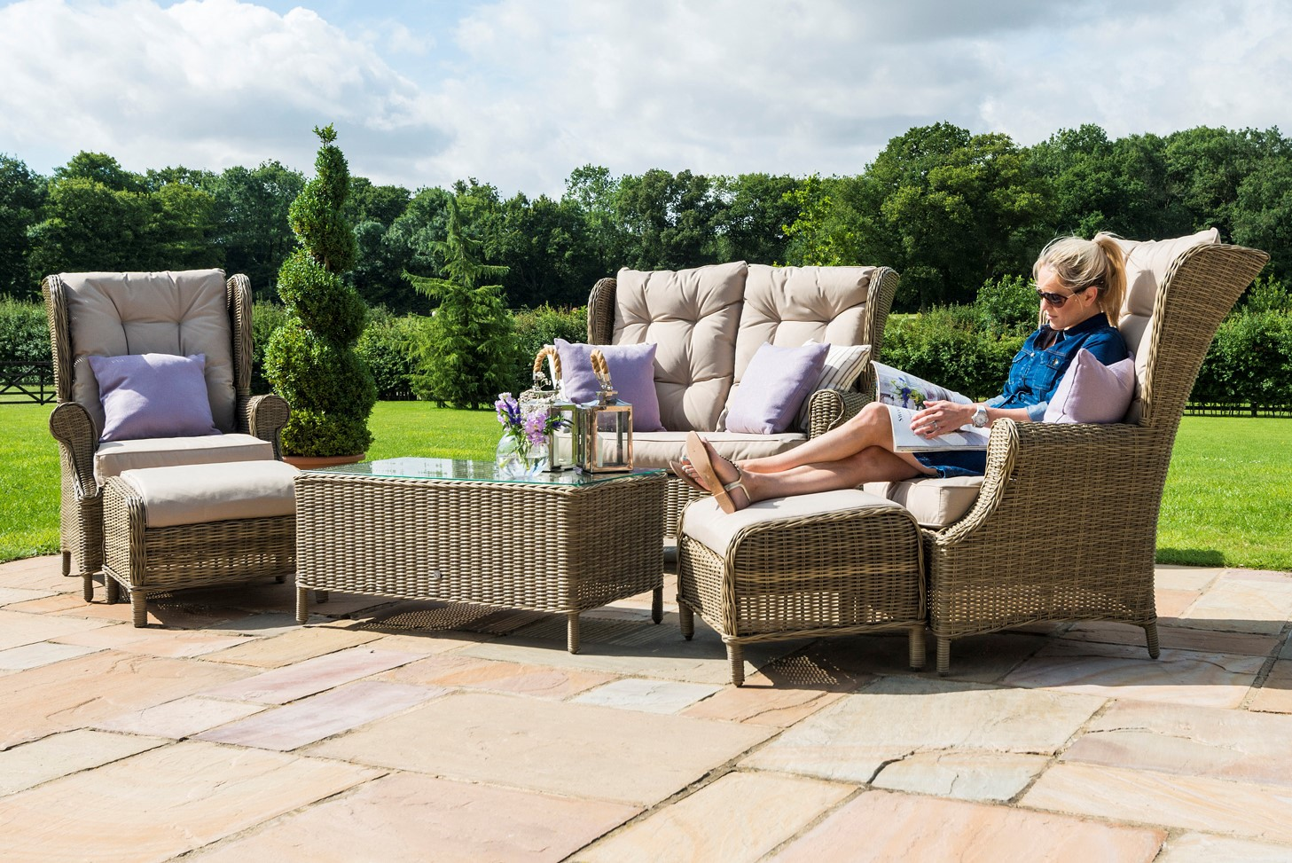 Maze Rattan Winchester 6 Seat High Back Garden Sofa Set