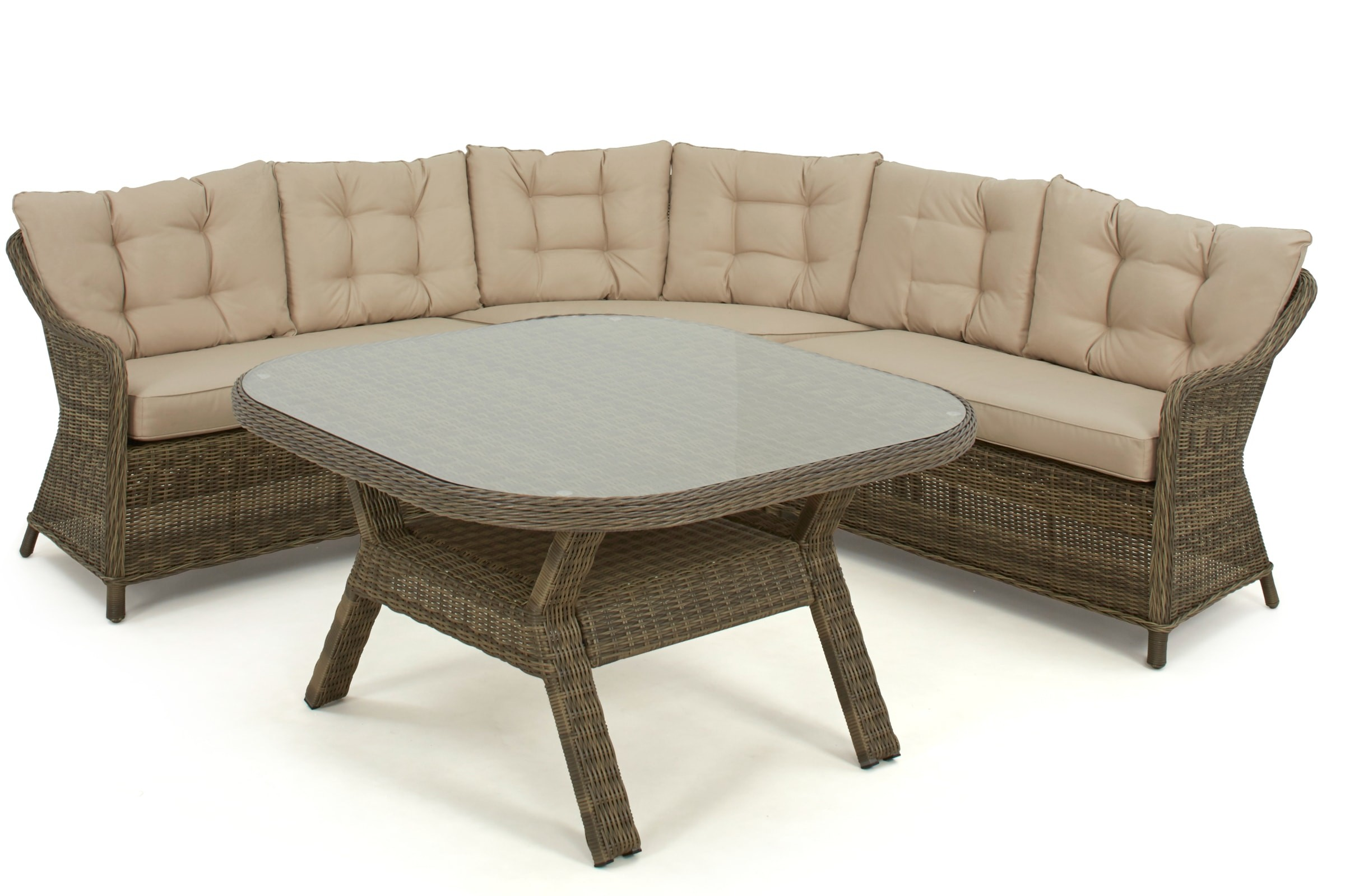 Maze Rattan Winchester Rounded Corner Sofa Dining Set