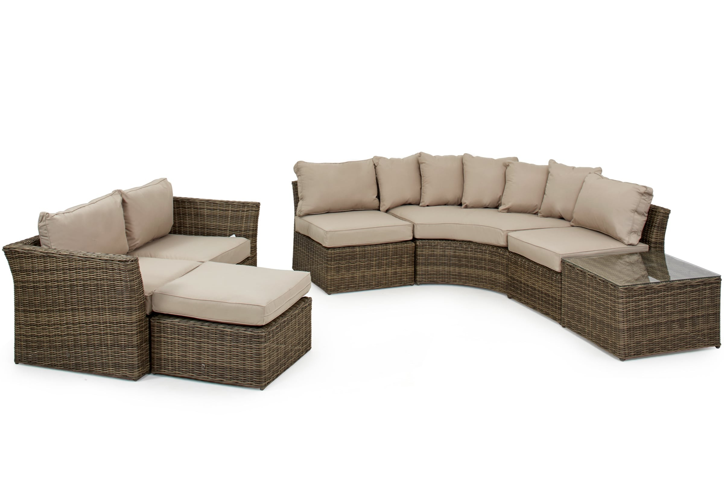 9 Seater Rattan Corner Sofa Dining Set Garden Furniture