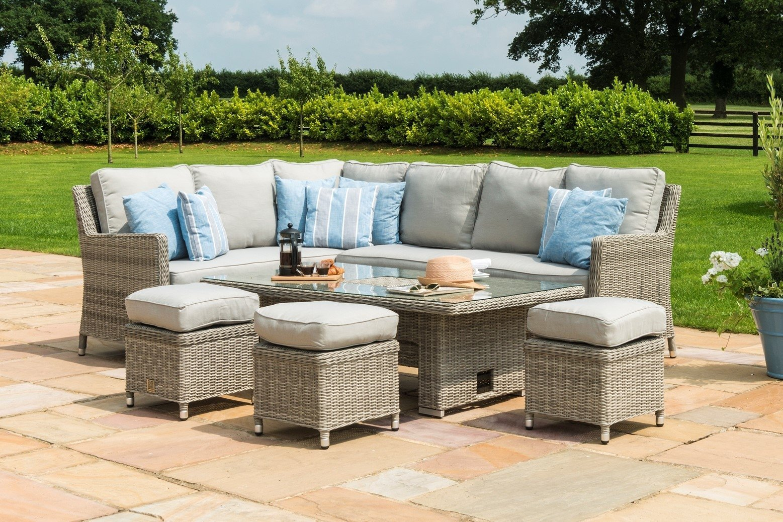 Maze Rattan Oxford Corner Sofa Dining Set With rising table